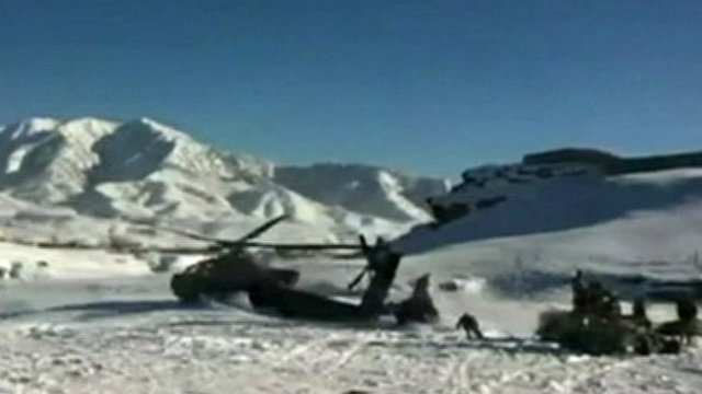 The US Apache helicopter which crashed into a snowy mountain in Afghanistan