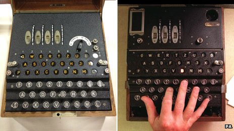 Spanish Enigma machine (left) and German military machine (right)