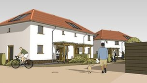 Artist&#039;s impression of &quot;straw bale&quot; homes in High Ongar