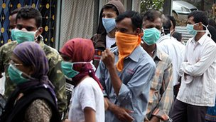 Swine flu tests outside a hospital in Pune