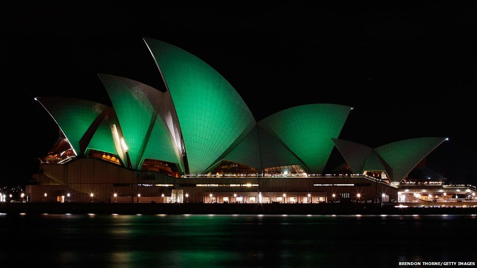 The Sydney Opera House is illuminated green on 17 March 2012 in Sydney, Australia