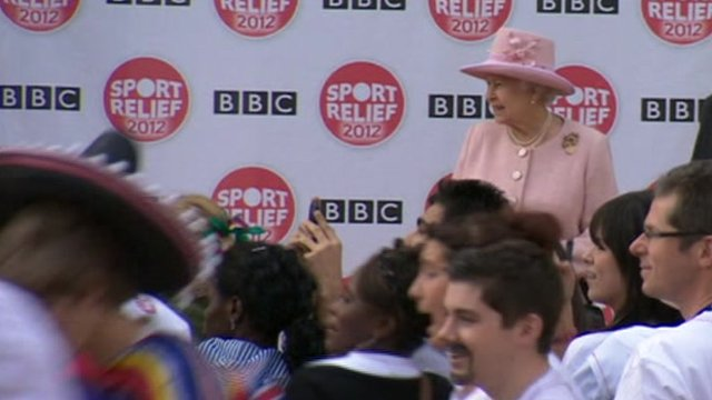 The Queen watching BBC staff running the Sport Relief mile in Salford