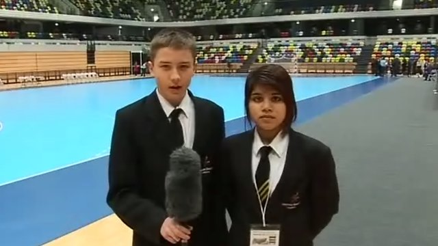 The students reporting live from the handball arena