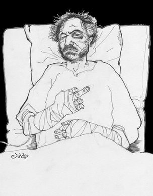 A sketch of Ali Ferzat recovering in hospital