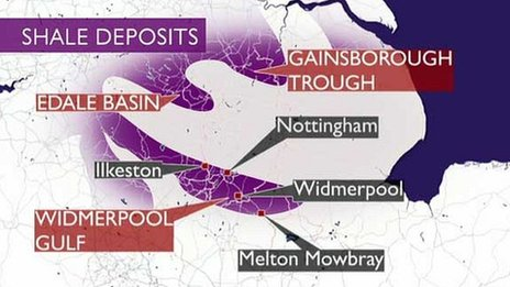Shale gas map of East Midlands
