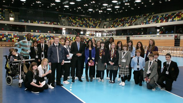 The Olympic Park School Report group with Lord Coe
