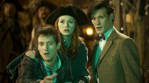 Rory Williams (Arthur Darvill), Amy Pond (Karen Gillan) and The Doctor (Matt Smith)