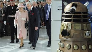 The Queen on a tour of the BBC's buildings at MediaCityUK