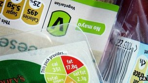 Food labels with calorie measurements