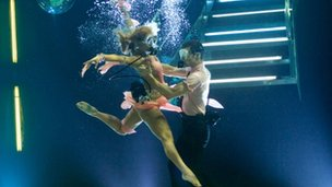 Strictly Come Dancing finalist Harry Judd and his dancing partner Aliona underwater