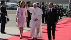 Pope Benedict is escorted by Mexican Felipe Calderon (right) and his wife, Margarita Zavala. Photo: 23 March 2012