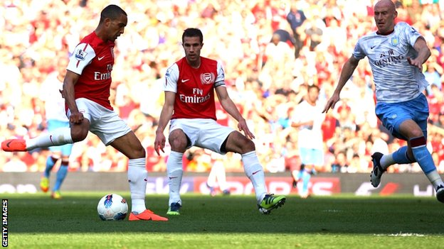 Theo Walcott scores for Arsenal against Aston Villa