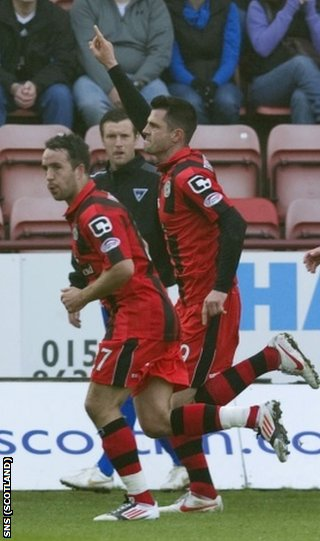 Thomson (right) opened the scoring at East End Park