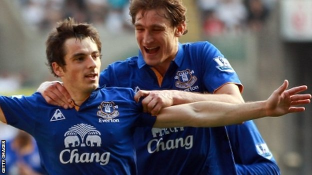 Everton's Leighton Baines celebrates his opener with fellow goalscorer Nikica Jelavic