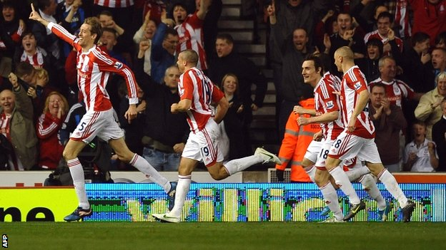 Crouch (left) put Stoke ahead with a candidate for Goal of the Season