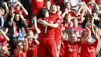 Liverpool's Luis Suarez (left) celebrates scoring their first goal of the game with team-mate Steven Gerrard