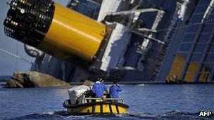 Technicians in a small boat pass near the stricken cruise ship Costa Concordia, 26 January