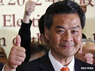 CY Leung after winning the election to become Hong Kong's new leader on 25 March 2012