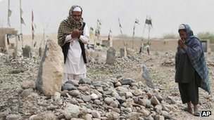 Afghan villagers pray at the grave of one of the victims of the shooting rampage in Panjwai district, Kandahar, on 24 March 2012