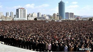 Crowds in Pyongyang, North Korea (25 March 2012)