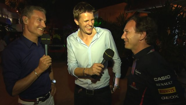 David Coulthard and Jake Humphrey talk to Christian Horner in the F1 Forum