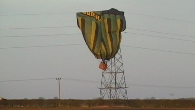 Deflated hot-air balloon