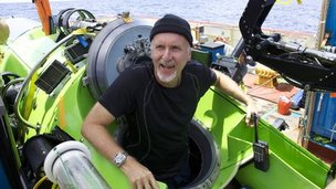 James Cameron after returning to the surface