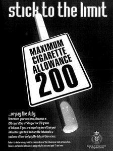 Customs cigarette limits poster