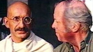 Ben Kingsley as Gandhi, with Attenborough