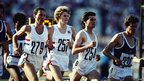 Seb Coe (right) of Great Britain leads team-mates Steve Cram (middle) and Steve Ovett (left) in the final of the 1500 metres at the 1980 Olympic Games at the Lenin Stadium in Moscow, Soviet Union. Coe won the gold medal in a time of three minutes 38.4 seconds on 1 August 1980