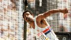 Briton Daley Thomson throws the discus during the Olympic decathlon event on 9 September 1984 at the Los Angeles Olympics. During his career Daley Thomson captured two decathlon golds (1980, 1984).