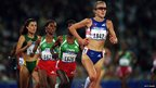 Paula Radcliffe of Great Britain leads the field during the 10,000 metres Final at the Olympic Stadium on Day Fifteen of the Sydney 2000 Olympic Games in Sydney, Australia, 27 September 2000