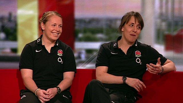 L-R: England scrum half La Toya Mason with captain Katy McLean