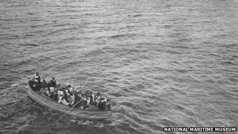 A photograph taken from the Carpathia by passenger Louis Ogden as it reached the scene of the Titanic disaster, showing a lifeboat of survivors