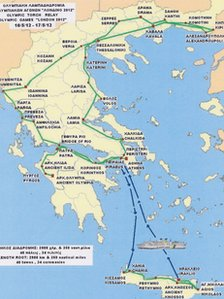 Map of Greek torch relay route
