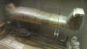 Coffin containing Iset Tayef Nakht's mummified remains
