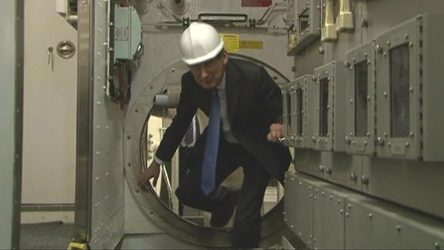 Defence Secretary Philip Hammond on board HMS Vengeance