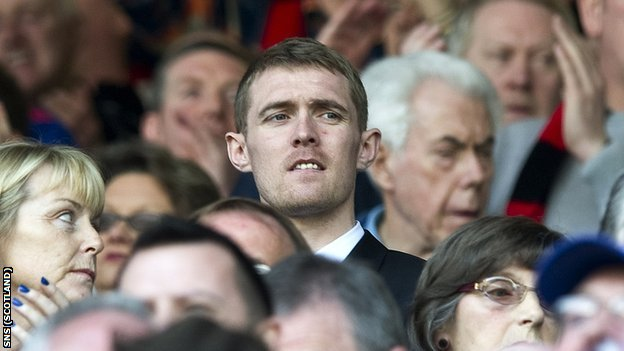 Darren Fletcher watches from the stand