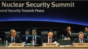President Obama, Lee Myung-bak and Dmitry Medvedev at the 2012 Nuclear Security Summit in Seoul on 27 March, 2012
