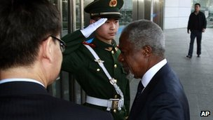 UN-Arab League envoy Kofi Annan arrives at the Chinese Ministry of Foreign Affairs for talks in Beijing, China, March 27, 2012.