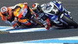 Casey Stoner and Jorge Lorenzo battling for the 2011 world title