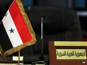 Empty place for Syrian government representative at the venue of a meeting of Arab League finance ministers in Baghdad (27 March 2012)