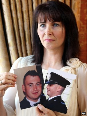 Nuala Kerr with pictures of her son Ronan