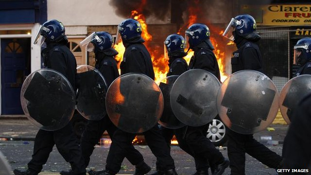 Riot police in Hackney - file photo