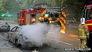 Fire service and burning car