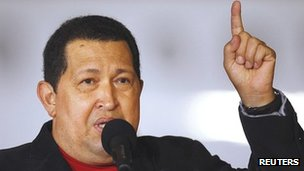 Venezuelan President Hugo Chavez speaks in Caracas on 16 March after arriving from Cuba, where he had surgery for cancer.