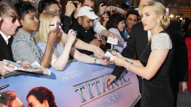 Kate Winslet signs autographs for fans at the Titanic in 3D premiere