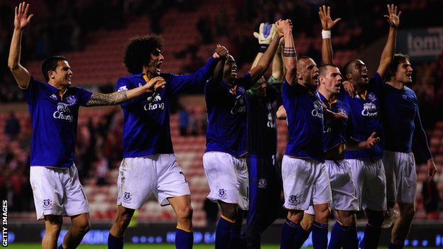 Everton celebrate at the final whistle