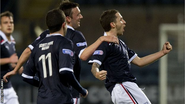 Jamie McCluskey (right) celebrates scoring against Ayr