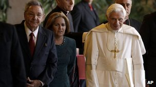 "Cuba""s President Raul Castro stands next to Pope Benedict XVI in Havana, Cuba, 27 March 2012."